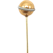 Late Victorian 14kt Yellow and White Gold Spherical Stick Pin