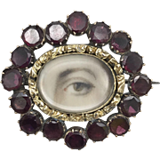 10kt Gold Lover's Eye Brooch with Garnets, circa 1820