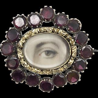 10kt Gold Lover's Eye Brooch with Garnets, circa 1820