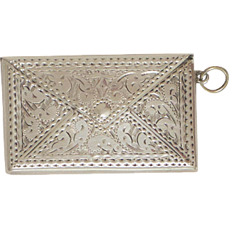 Lovely English Sterling Silver Envelop Shaped Stamp Case