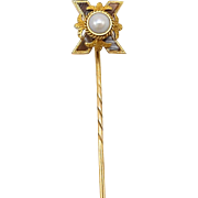 Late Victorian 14kt Gold, Banded Agate, and Pearl Stick Pin