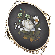 18kt Gold Pietra Dura Brooch from Italy, circa 1880