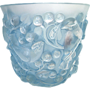 R. Lalique Avalon Blue Patina Sparrow Vase