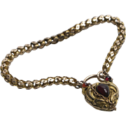 Rare Victorian 14K Gold Bracelet and Heart Lock