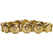 14kt Gold and Diamond Victorian Button Bracelet