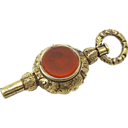 Georgian 12kt Gold, Carnelian, and Topaz Watch Fob Key