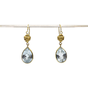 Etruscan Revival 18kt Gold and Topaz Earrings