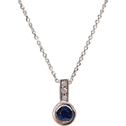 14kt White Gold, Natural Sapphire, and Diamond Necklace