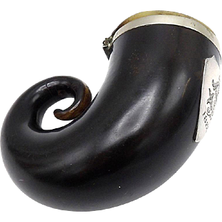 Scottish Ram Horn Snuff Mull with Sterling Silver, Circa 1888