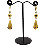 Etruscan Revival 14kt and 18kt Gold Earrings with Amethysts, circa 1880