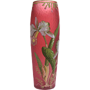 French Enameled Red Martelé Glass Vase with Orchid