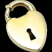 10kt Gold Padlock Heart Charm, C. 1910