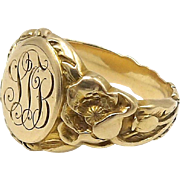 14kt Gold Poppy Signet Ring, C. 1903