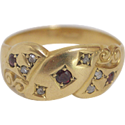 Charming 9kt Gold, Ruby and Diamond Ring