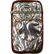 Whiting Sterling Silver Match Safe with Iris #6020