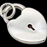 Vintage Sterling Silver Padlock Style Heart Pendant