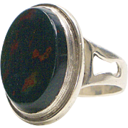 Sterling Silver and Bloodstone Men's Ring