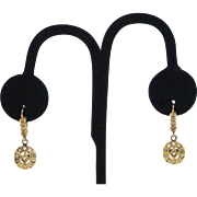 Early Victorian 18kt Gold and Diamond Earrings