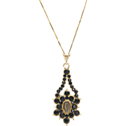 Victorian-era 14kt Gold, Hair and Onyx Mourning Pendant on 14kt Gold Chain