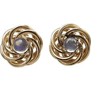 14kt Gold and Moonstone Earrings, from 1950's