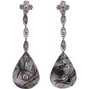 14 K White Gold, Reticulated Quartz, and Diamond Dangle Earrings