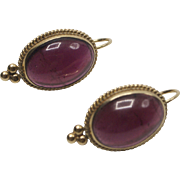 14K Gold,  Amethyst Cabochon Earrings