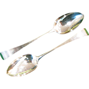 A Pair of Sterling Silver Serving Spoons in the Old English Pattern by Ann and Peter Bateman