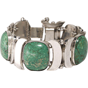 Taxco Felipe Martinez Mid Century Modern Sterling and Turquoise Bracelet