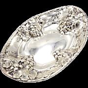 Mauser Sterling Silver Grape Clusters Bread Bowl, circa 1900