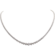 Incredible 18kt White Gold and Diamond Riviera Necklace 5.5 ctw
