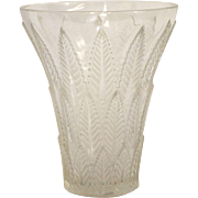 Rene Lalique Clear and Frosted Vase in the Chataignier Pattern