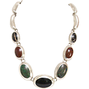 Stunning Taxco Sterling Silver Graduated Multi-Stone Necklace