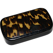 Charming Hand Painted Faux Tortoiseshell Snuff Box
