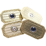 Art Deco 14kt Gold, Sapphire, and Diamond Cufflinks