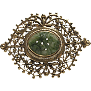 Victorian Jade and Seed Pearl, 14K Gold Brooch
