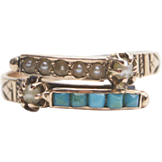 Etruscan Revival 14kt Rose Gold, Seed Pearl, and Blue Glass Ring