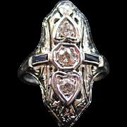 18K Gold Art Deco Diamond and Sapphire Ring