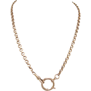 Victorian 14kt Rose Gold Pocket Watch Chain or Necklace