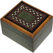 19th Century English Tunbridge Ware Box with Silver Inlay