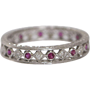 18kt White Gold, Diamond and Pink Sapphire Eternity Band