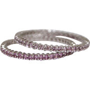 Two 18kt White Gold and Pink Sapphire Stackable Eternity Bands