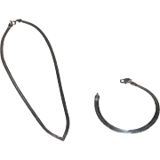 925 Sterling Silver Snake Chain Necklace and Bracelet from Italy