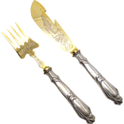 Gold Plated 800 Silver Art Nouveau Fish Serving Set from Germany