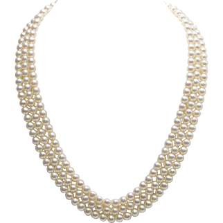 14kt Gold and Three Strand Akoya Pearl Necklace