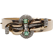 Stunning Retro Rose Gold, Emerald and Diamond Bangle Bracelet