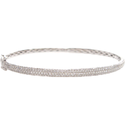 18K White Gold Micro Pave Diamond Bangle
