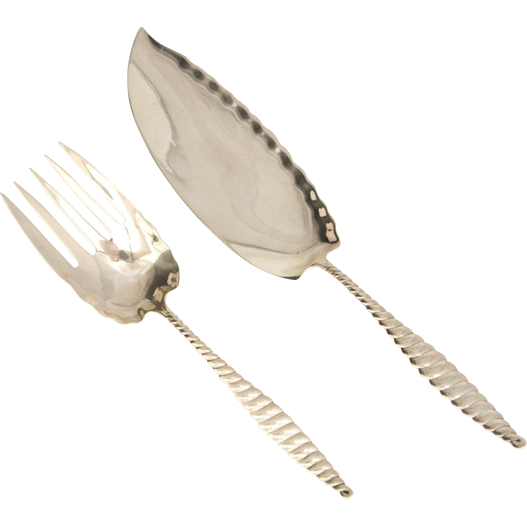Large Oval Twist Sterling Silver Fish Serving Set by Whiting 1880