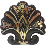 Victorian Shell Shaped Brooch with Rose Gold & Silver Pique Overlay, circa 1840-1860