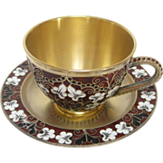 Soviet Russian 916 Gilt Silver Enamel Teacup with Saucer