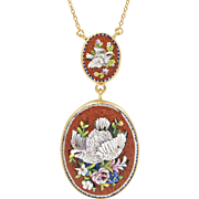 19th Century Micro-mosaic Pendant Necklace